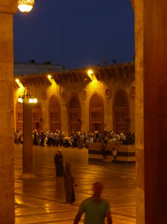 The Umayyad Mosque at evening prayers