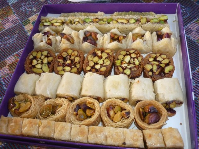 Aleppo sweets, each one drenched in honey and ridiculously delicious