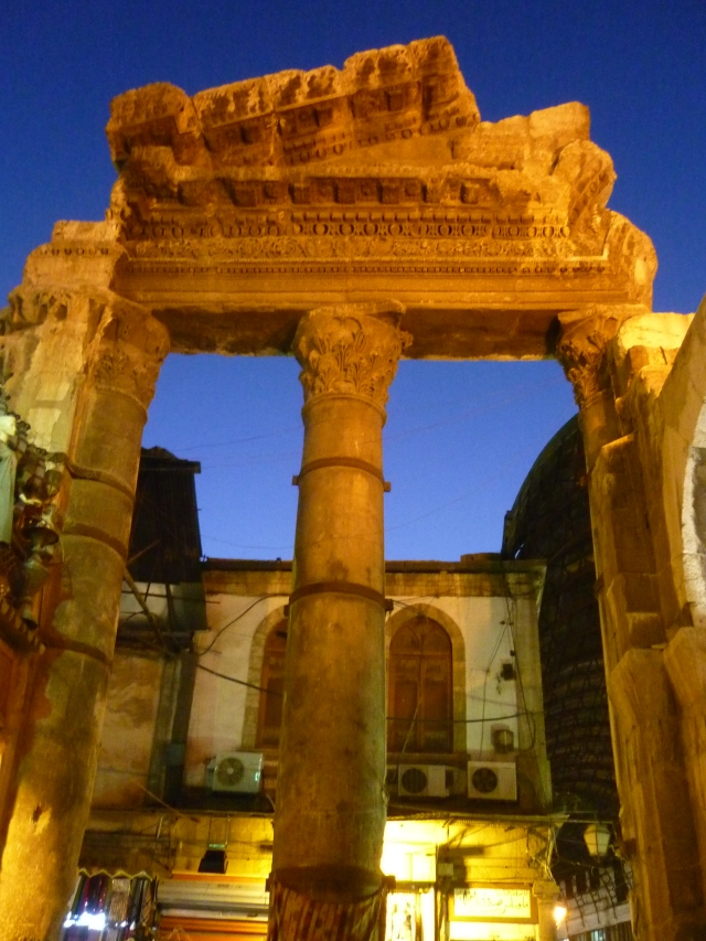 The Gate of Jupiter, now outside the Damascus souk but once entrance to a huge roman temple on the site of the current Umayyad mosque