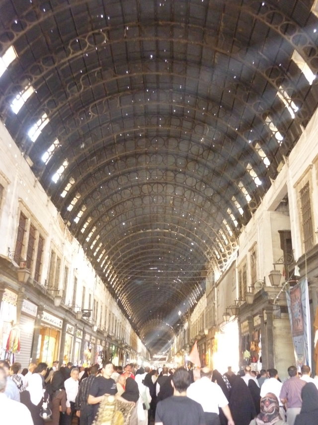 The roof of the damascus souk, complete with holes supplied by the French